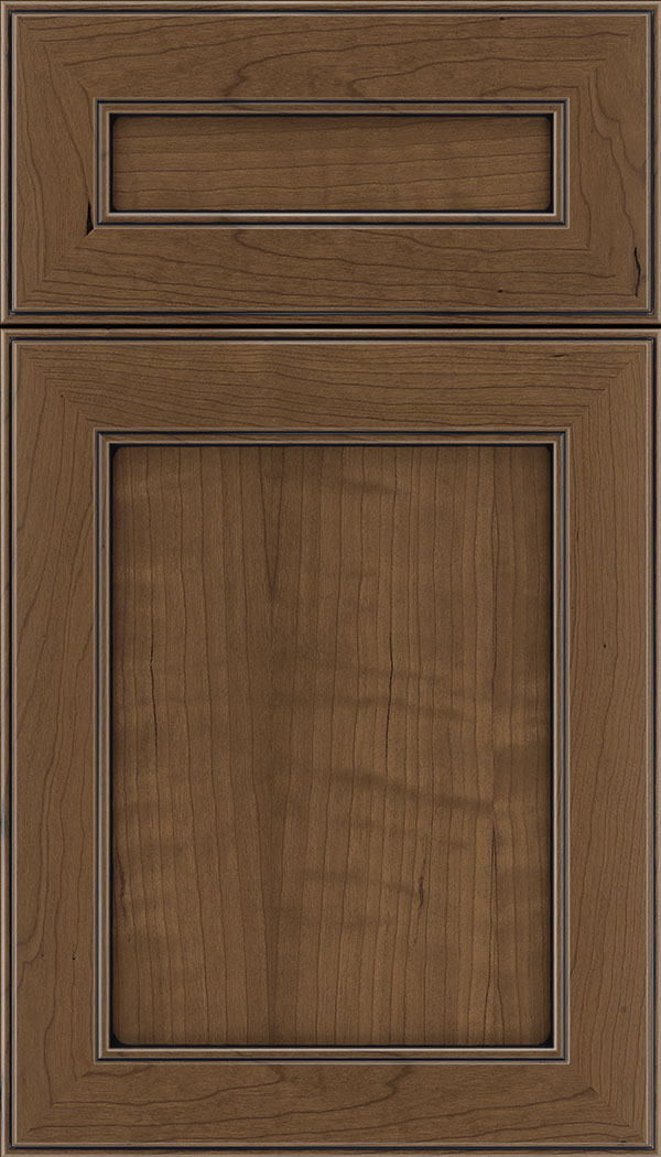 Chelsea 5pc Cherry flat panel cabinet door in Toffee with Black glaze