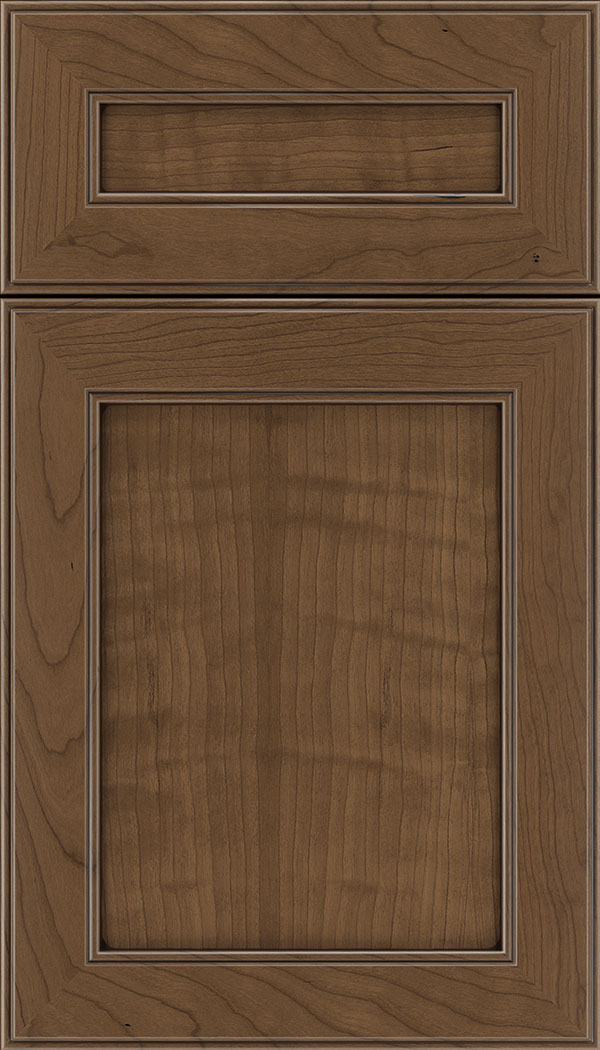 Chelsea 5pc Cherry flat panel cabinet door in Toffee with Mocha glaze