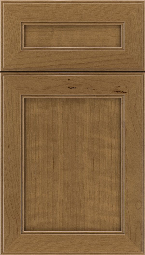 Chelsea 5pc Cherry flat panel cabinet door in Tuscan