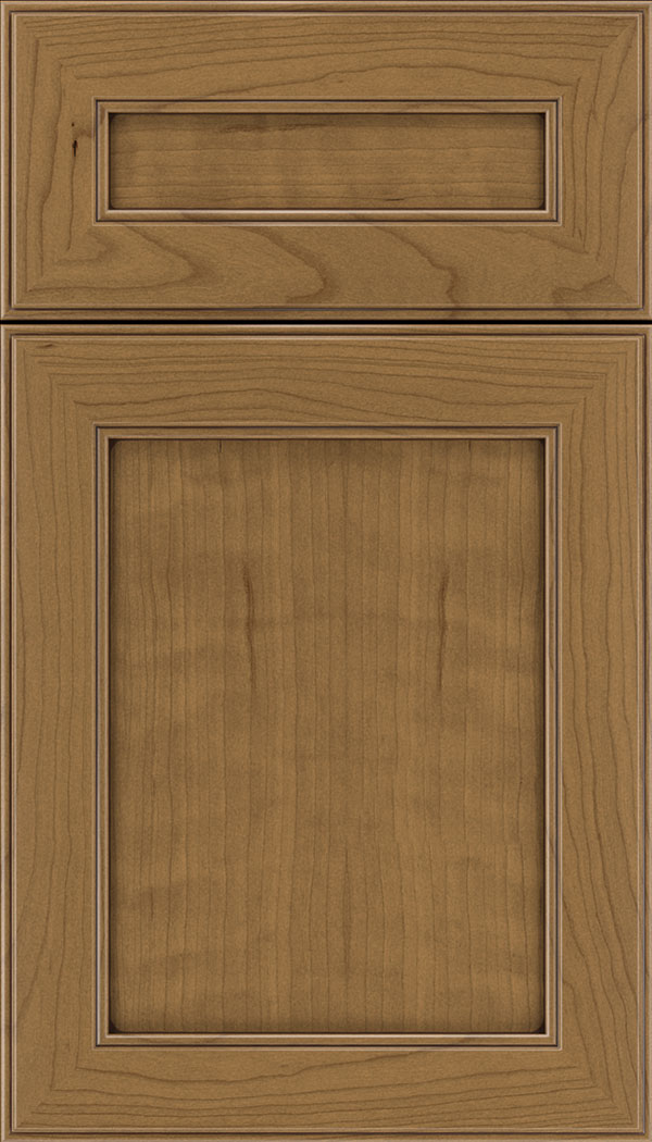Chelsea 5pc Cherry flat panel cabinet door in Tuscan with Mocha glaze