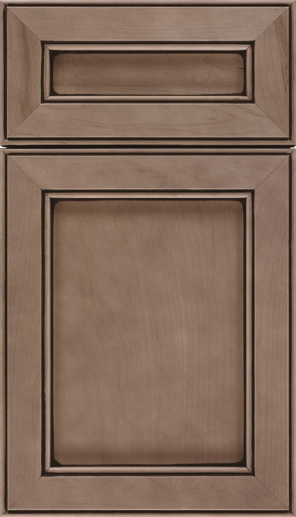Chelsea 5pc Cherry flat panel cabinet door in Winter with Black glaze
