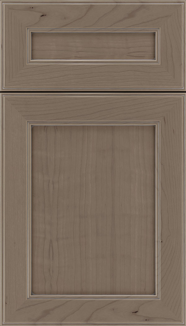 Chelsea 5pc Cherry flat panel cabinet door in Winter with Pewter glaze