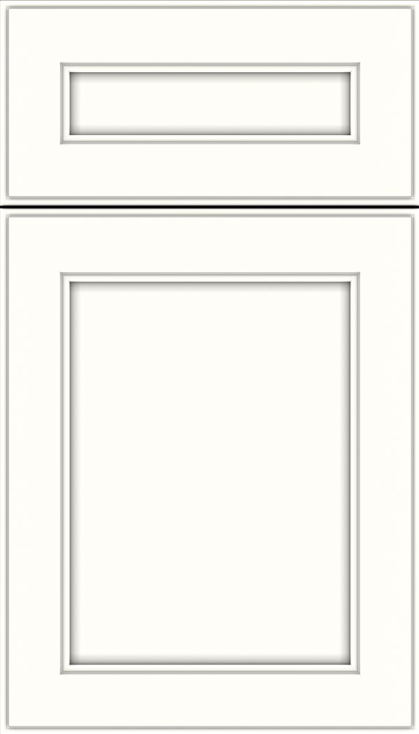 Chelsea 5pc Maple flat panel cabinet door in Alabaster