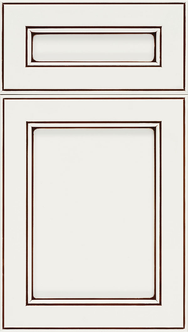 Chelsea 5-Piece Maple flat panel cabinet door in Alabaster with Mocha glaze