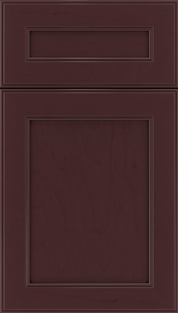 Chelsea 5pc Maple flat panel cabinet door in Bordeaux with Black glaze