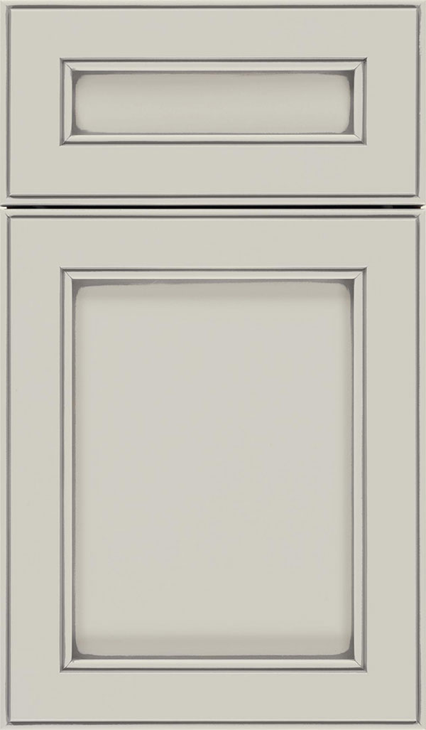 Chelsea 5pc Maple flat panel cabinet door in Cirrus with Pewter glaze
