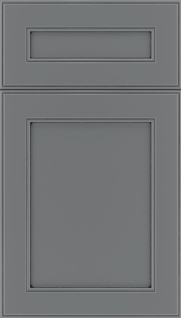 Chelsea 5pc Maple flat panel cabinet door in Cloudburst with Black glaze