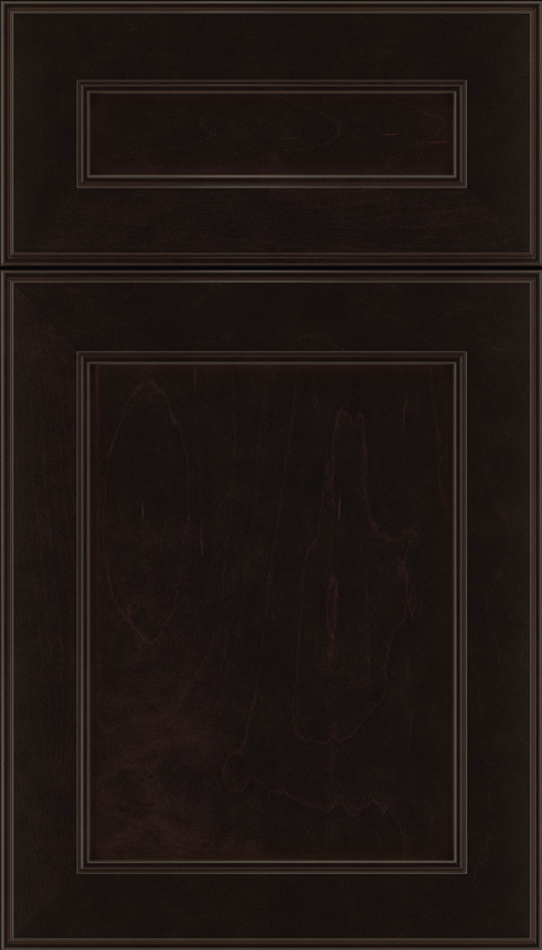 Chelsea 5pc Maple flat panel cabinet door in Espresso
