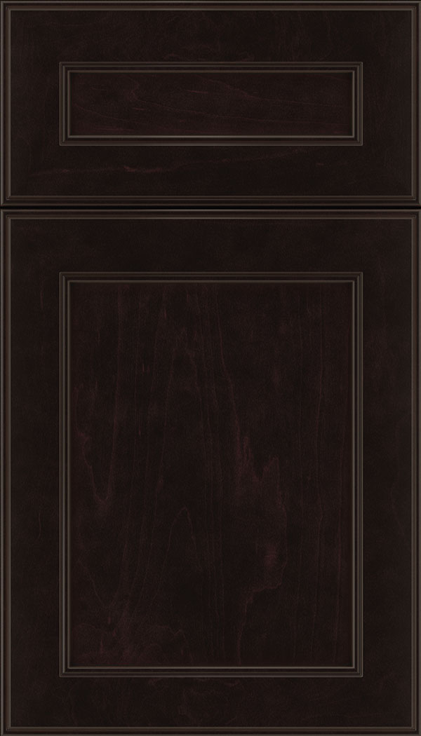 Chelsea 5pc Maple flat panel cabinet door in Espresso with Black glaze