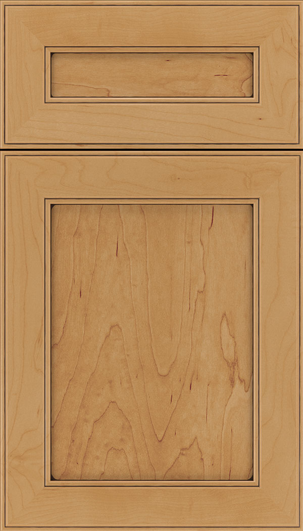 Chelsea 5pc Maple flat panel cabinet door in Ginger with Black glaze