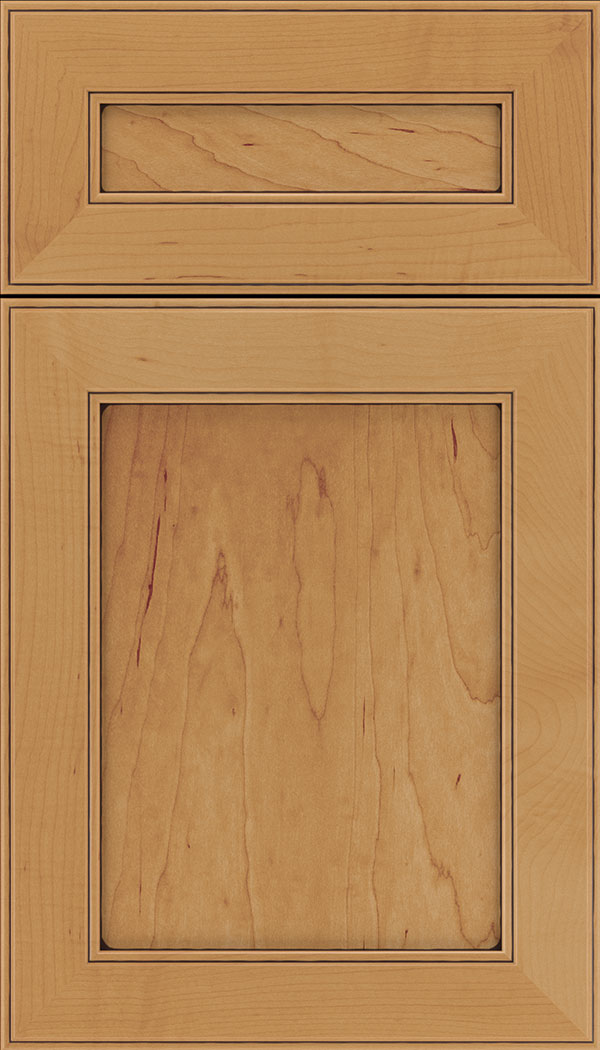 Chelsea 5pc Maple flat panel cabinet door in Ginger with Mocha glaze