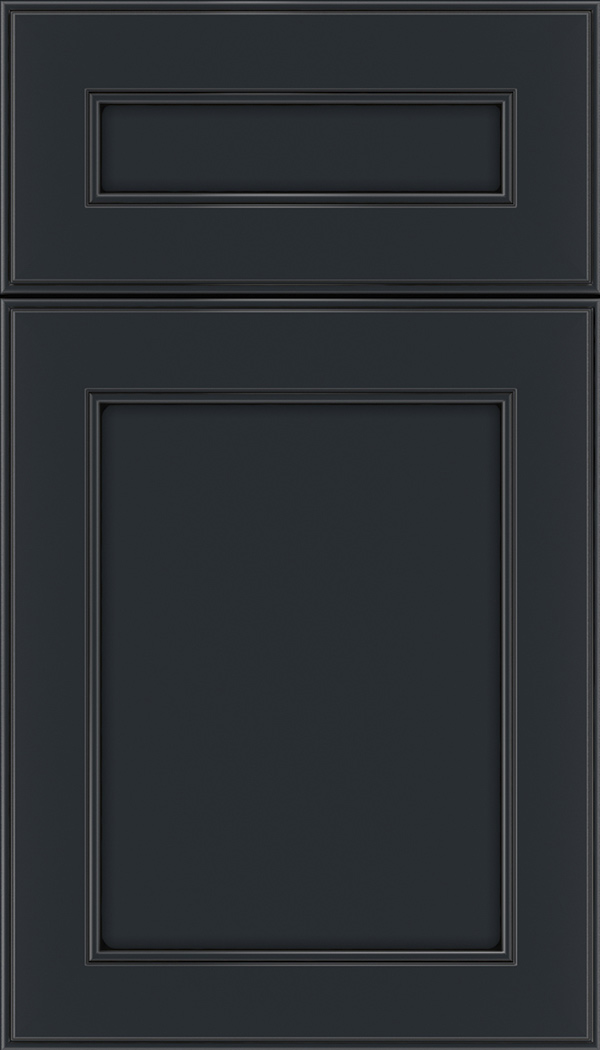 Chelsea 5pc Maple flat panel cabinet door in Gunmetal Blue with Black glaze
