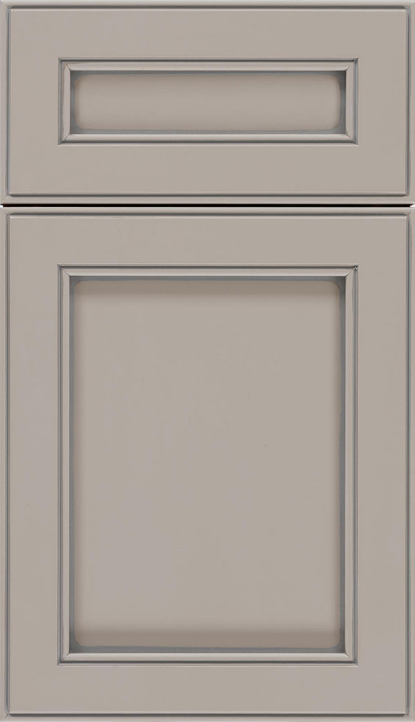 Chelsea 5pc Maple flat panel cabinet door in Nimbus with Pewter glaze