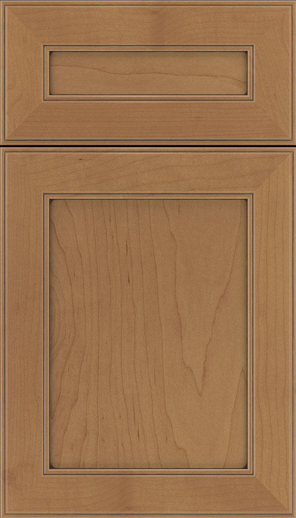 Chelsea 5pc Maple flat panel cabinet door in Nutmeg with Mocha glaze