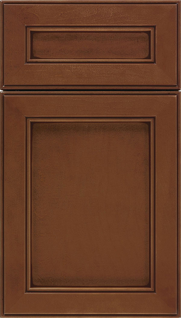 Chelsea 5pc Maple flat panel cabinet door in Sienna with Mocha glaze