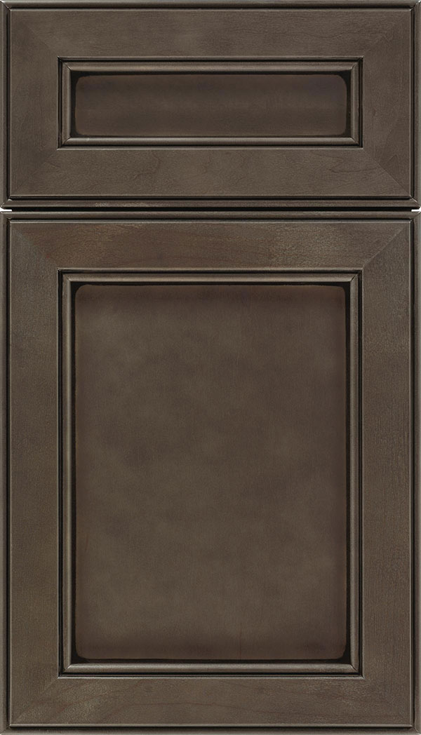 Chelsea 5pc Maple flat panel cabinet door in Thunder with Black glaze