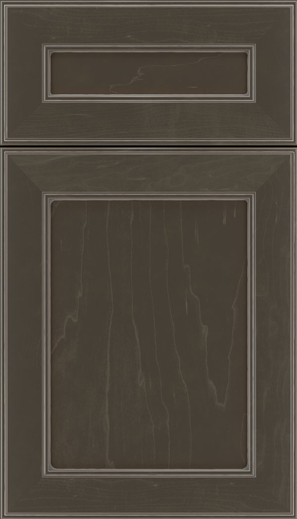 Chelsea 5pc Maple flat panel cabinet door in Thunder with Pewter glaze