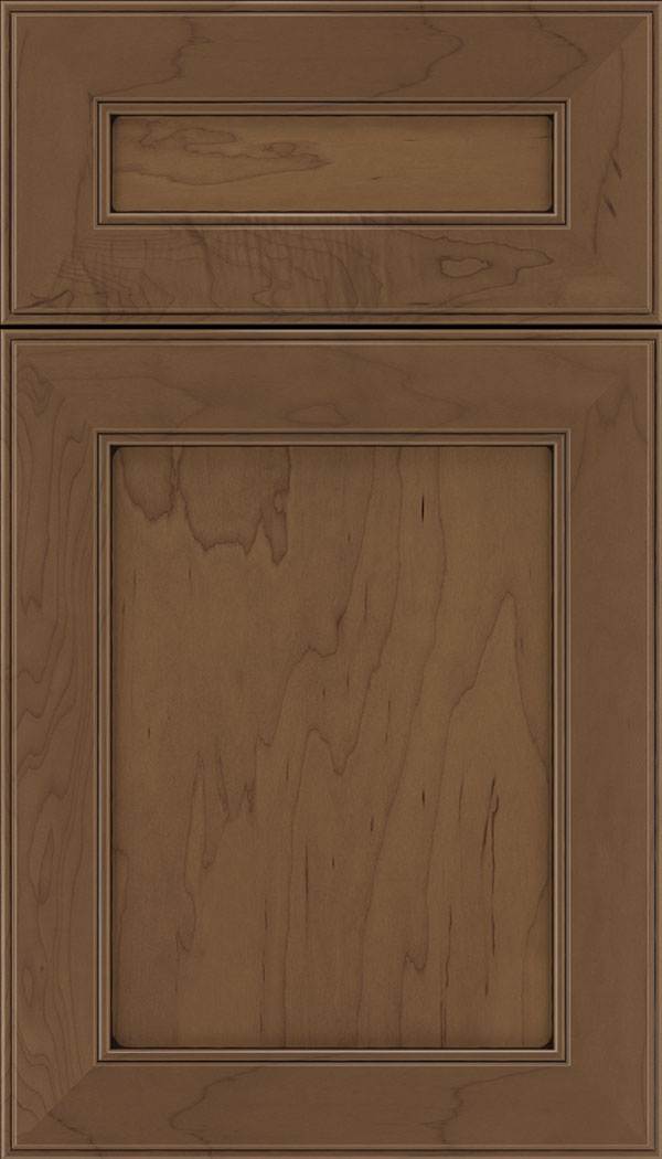 Chelsea 5pc Maple flat panel cabinet door in Toffee with Black glaze