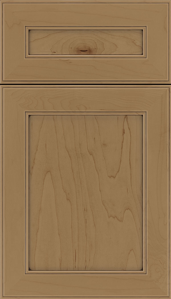 Chelsea 5pc Maple flat panel cabinet door in Tuscan with Mocha glaze
