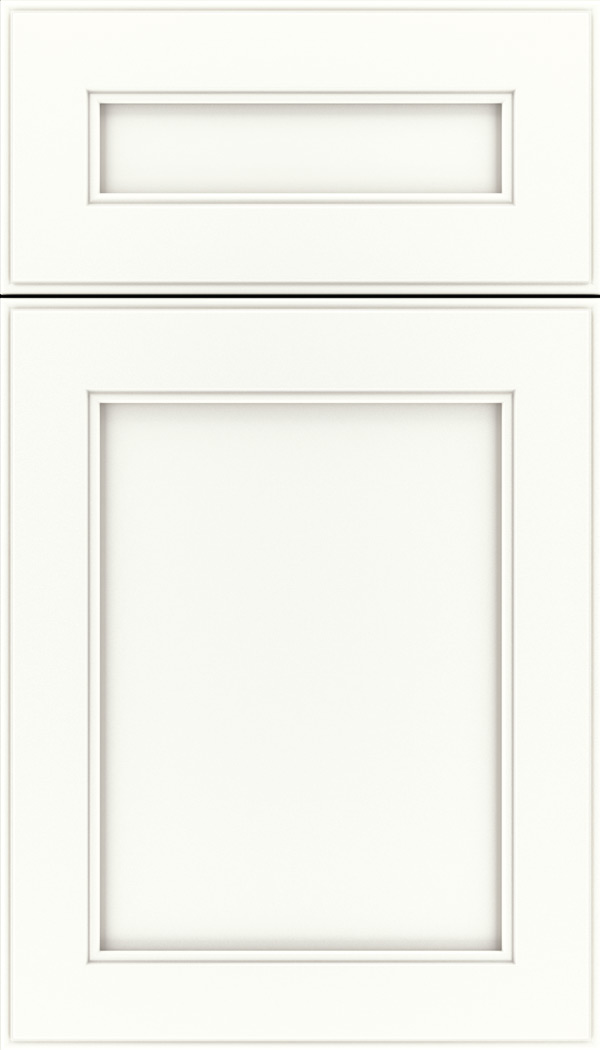 Chelsea 5pc Maple flat panel cabinet door in Whitecap