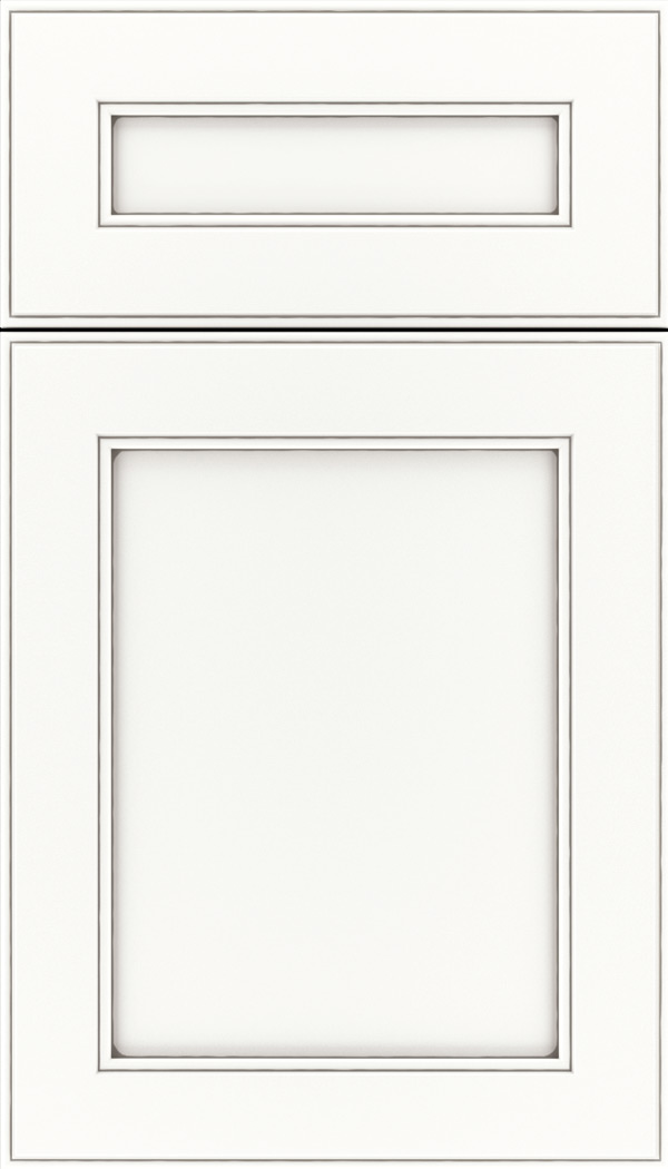 Chelsea 5pc Maple flat panel cabinet door in Whitecap with Pewter glaze