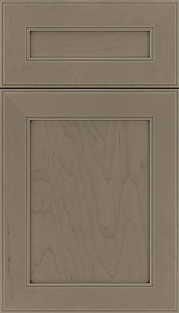 Chelsea 5pc Maple flat panel cabinet door in Winter with Black glaze