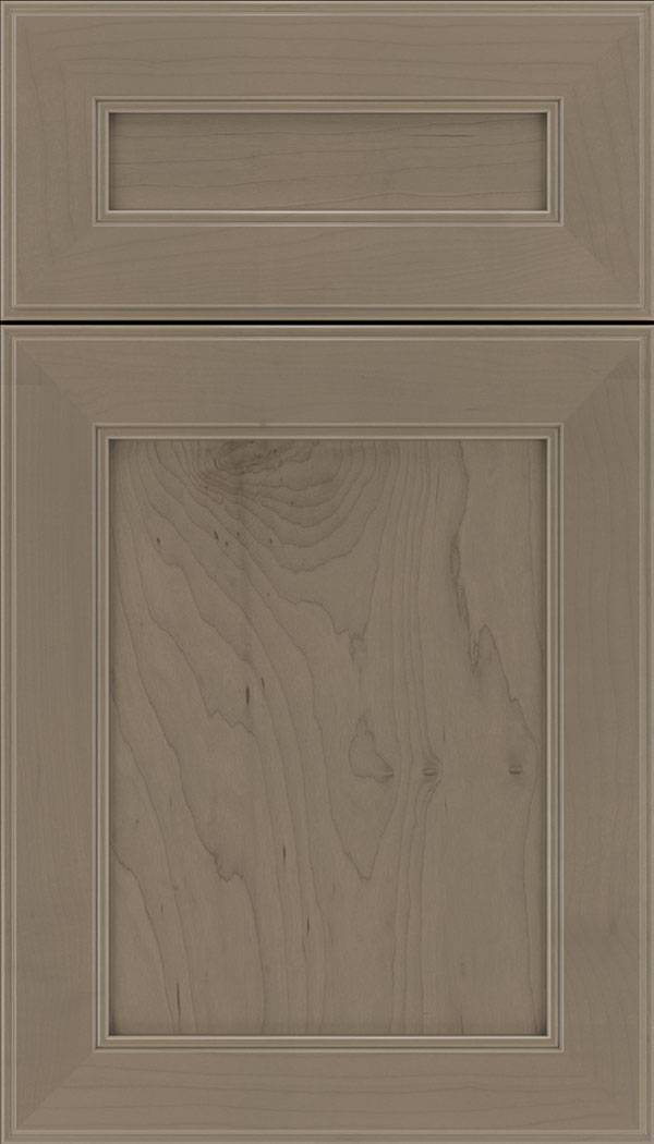 Chelsea 5pc Maple flat panel cabinet door in Winter with Pewter glaze