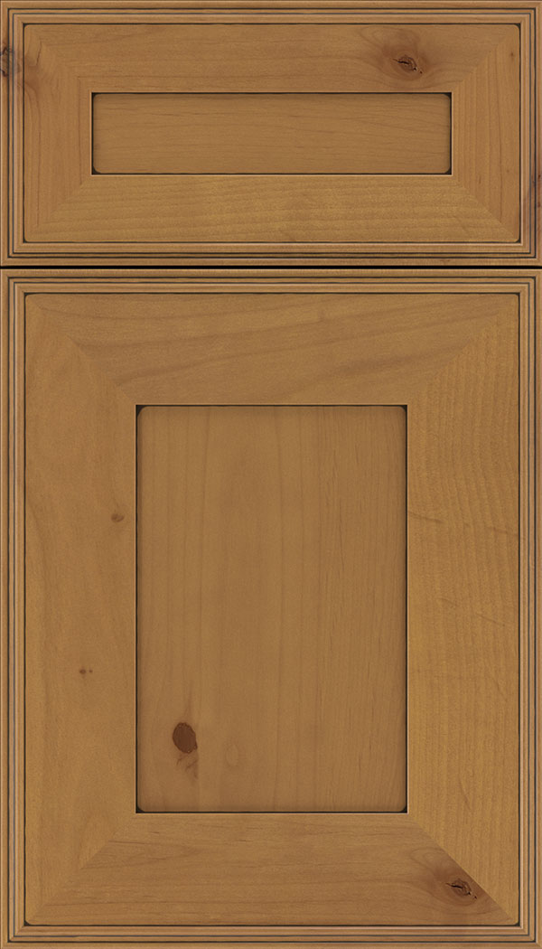 Elan 5pc Alder flat panel cabinet door in Ginger with Black glaze