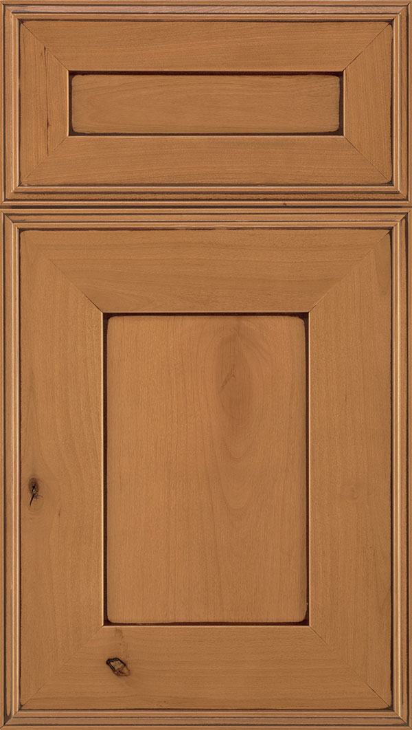 Elan 5-Piece Alder flat panel cabinet door in Ginger with Mocha glaze