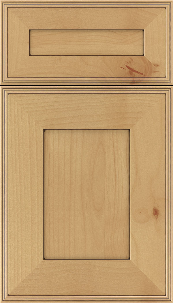 Elan 5pc Alder flat panel cabinet door in Natural with Mocha glaze