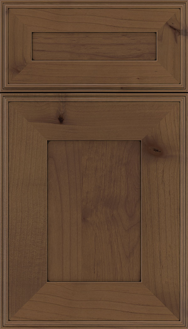 Elan 5pc Alder flat panel cabinet door in Sienna with Black glaze