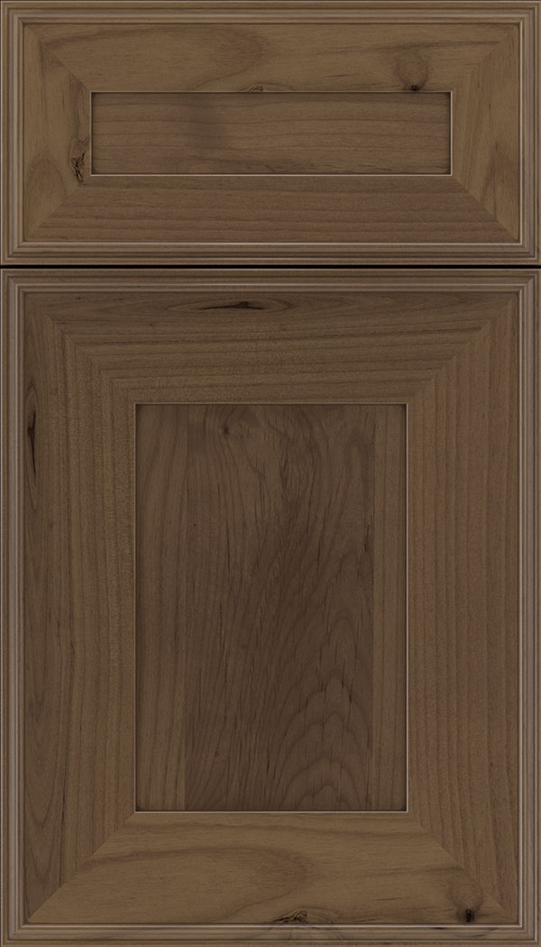 Elan 5pc Alder flat panel cabinet door in Toffee with Mocha glaze