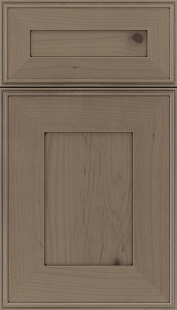 Elan 5pc Alder flat panel cabinet door in Winter with Black glaze