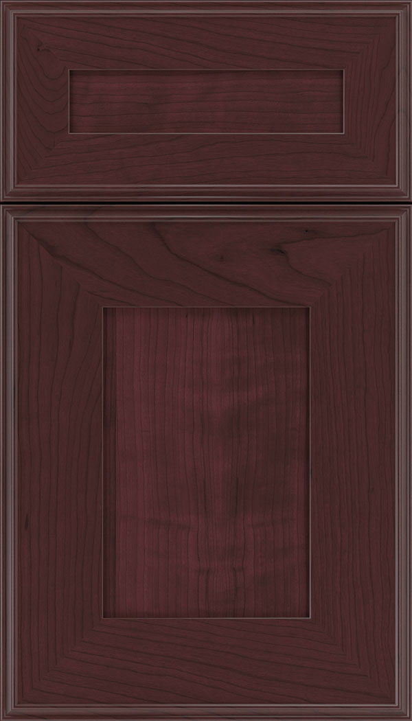 Elan 5pc Cherry flat panel cabinet door in Bordeaux