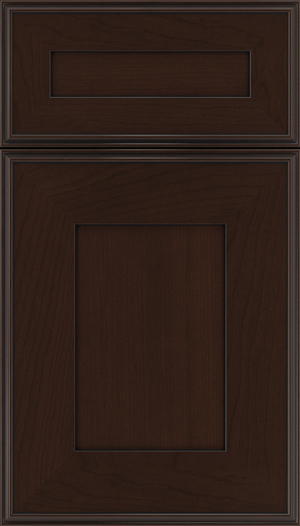Elan 5pc Cherry flat panel cabinet door in Cappuccino with Black glaze