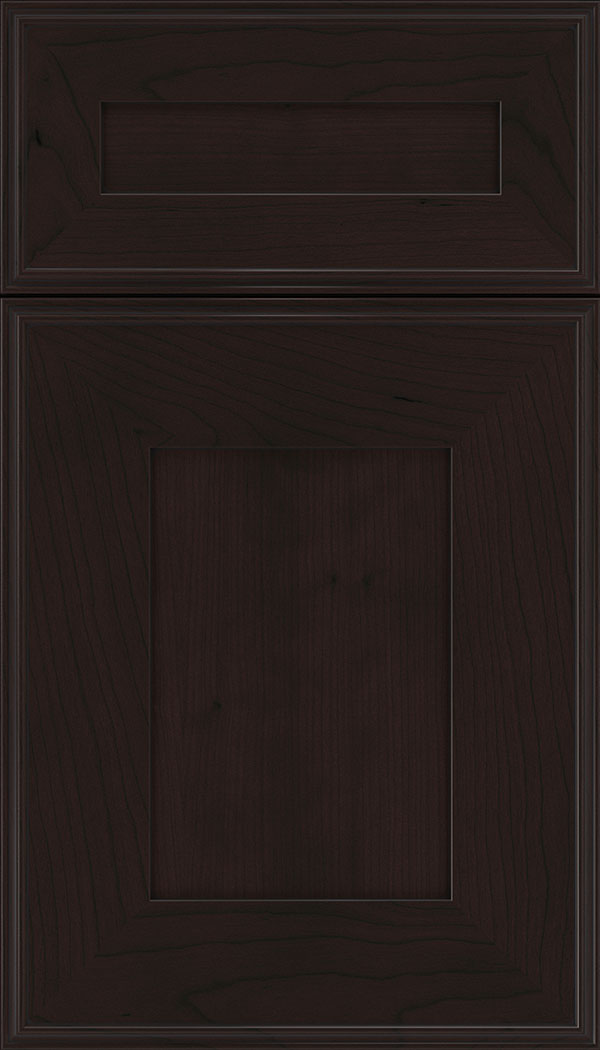 Elan 5pc Cherry flat panel cabinet door in Espresso with Black glaze