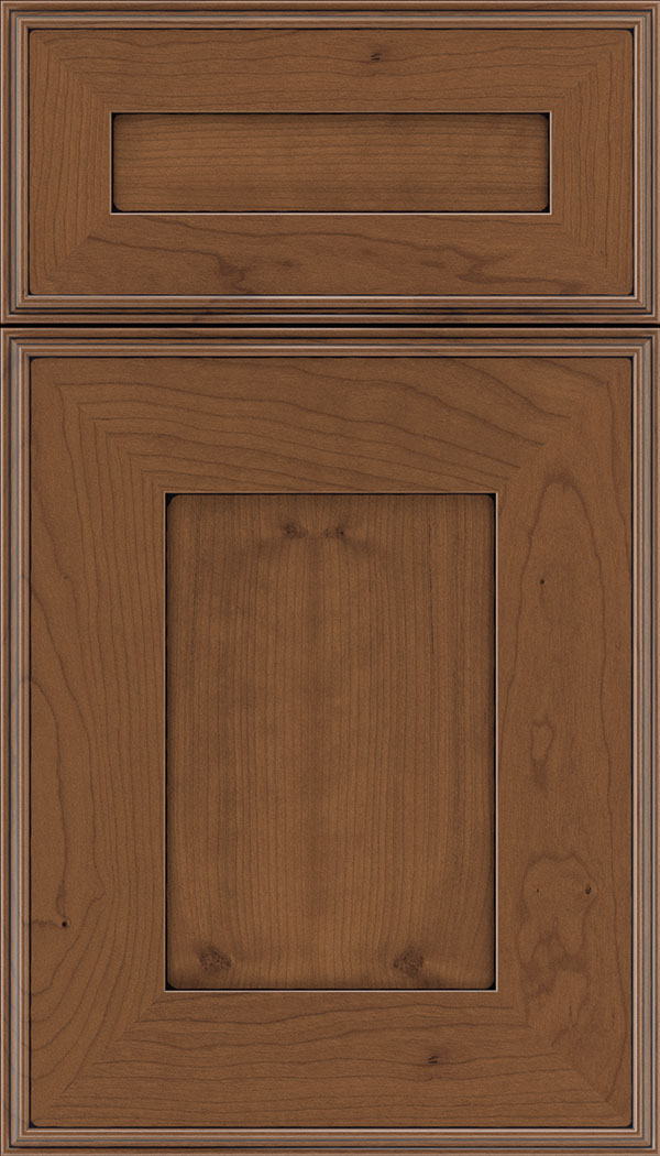 Elan 5pc Cherry flat panel cabinet door in Nutmeg with Black glaze
