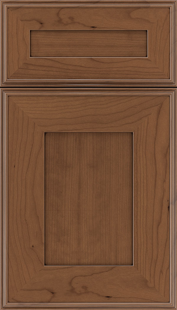 Elan 5pc Cherry flat panel cabinet door in Nutmeg with Mocha glaze