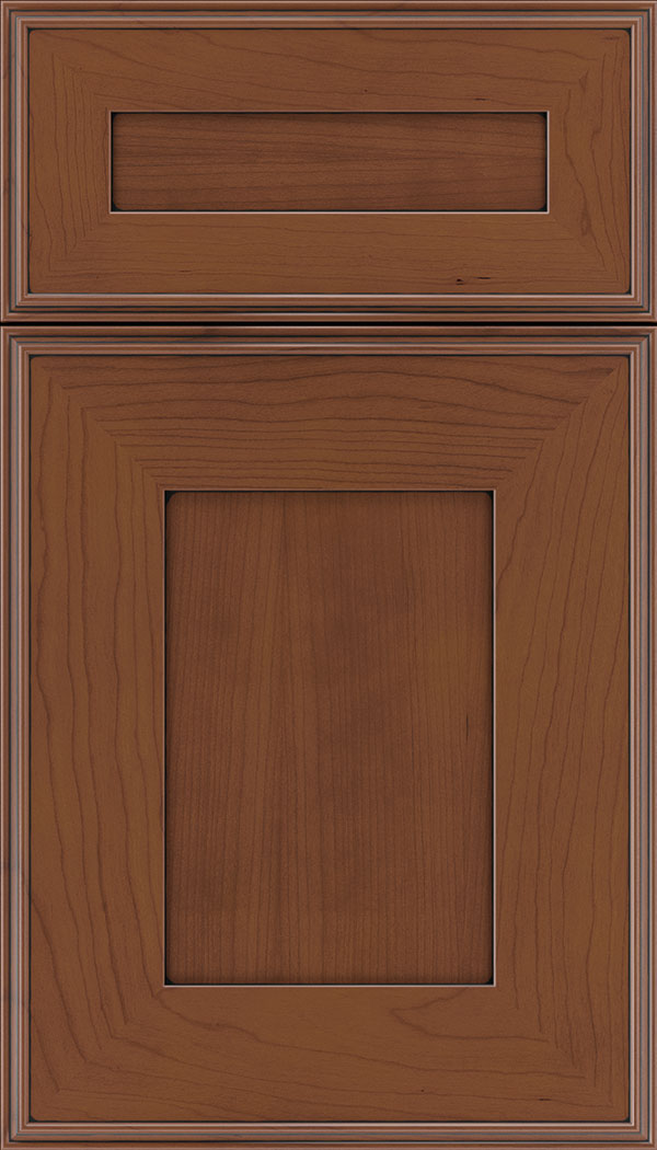 Elan 5pc Cherry flat panel cabinet door in Russet with Black glaze