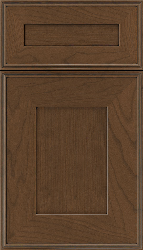 Elan 5pc Cherry flat panel cabinet door in Sienna with Black glaze