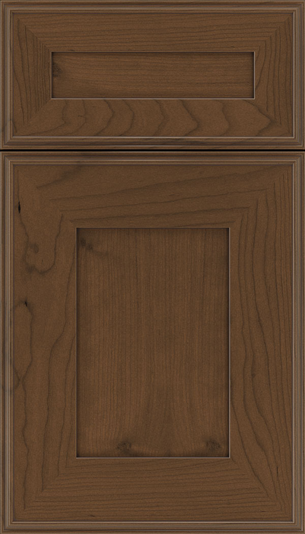 Elan 5pc Cherry flat panel cabinet door in Sienna with Mocha glaze
