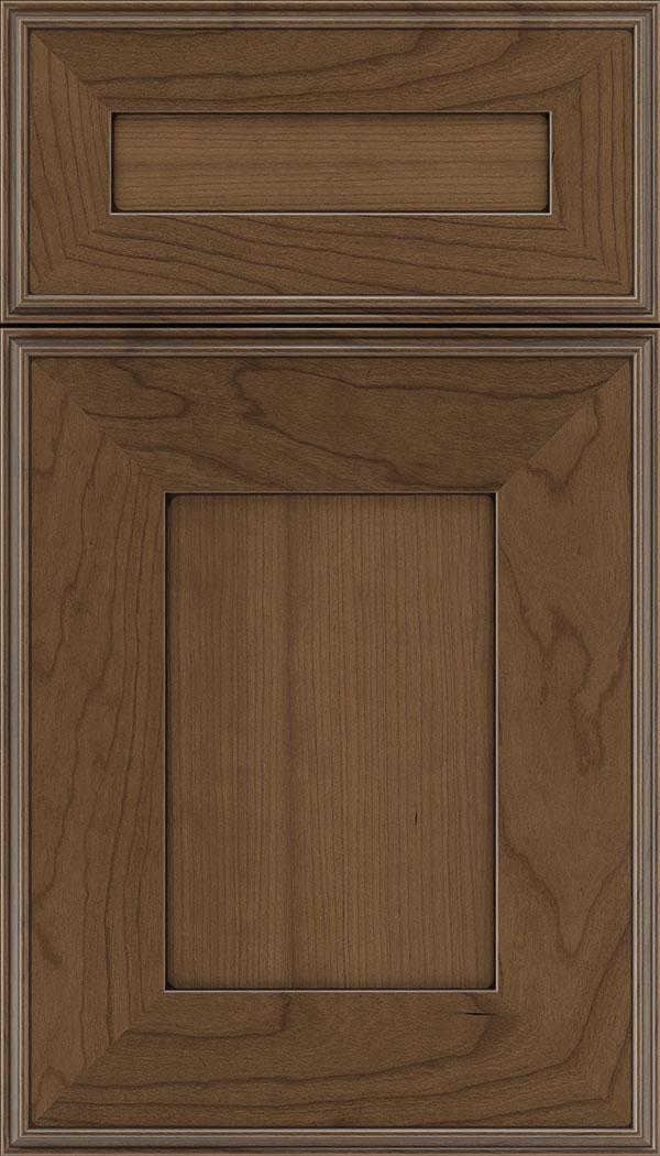 Elan 5pc Cherry flat panel cabinet door in Toffee with Mocha glaze