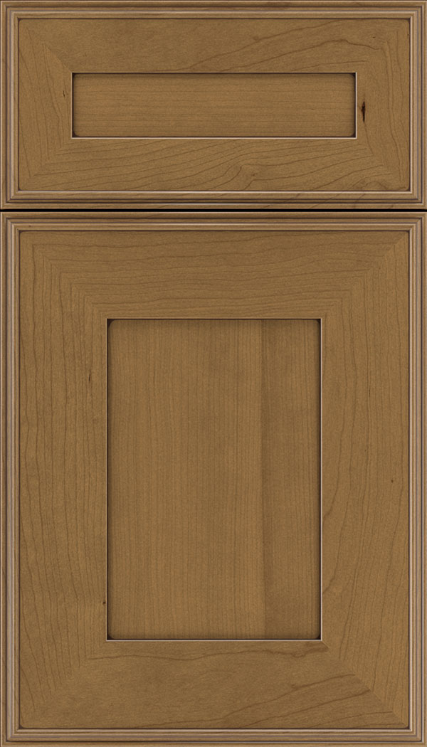 Elan 5pc Cherry flat panel cabinet door in Tuscan with Mocha glaze