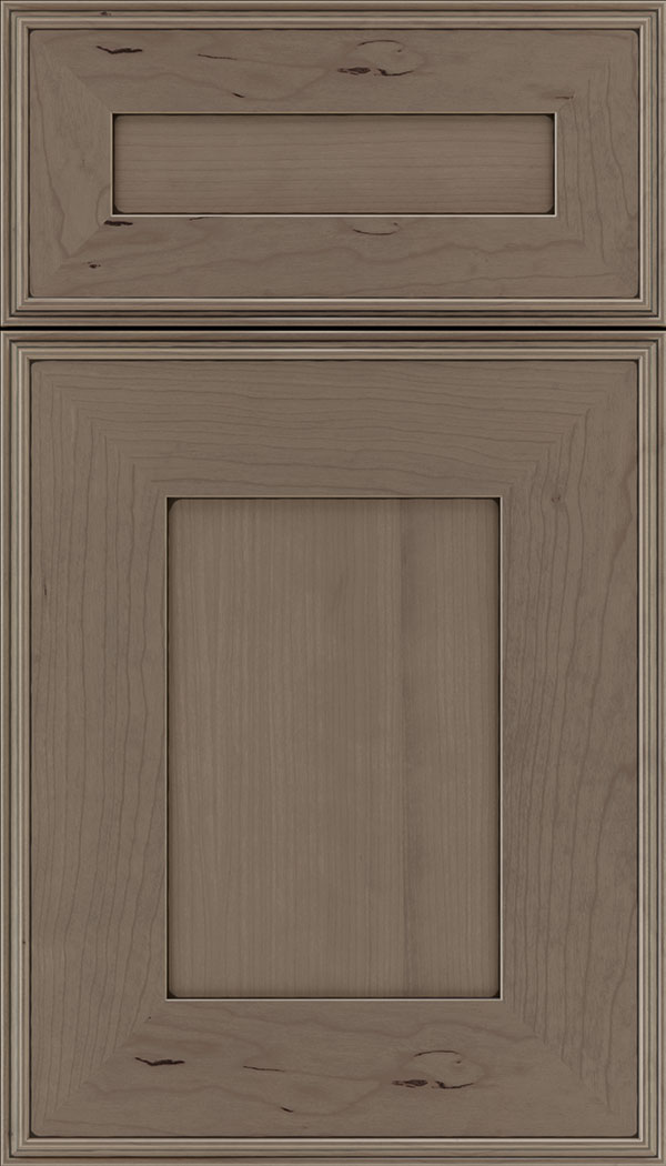 Elan 5pc Cherry flat panel cabinet door in Winter with Black glaze