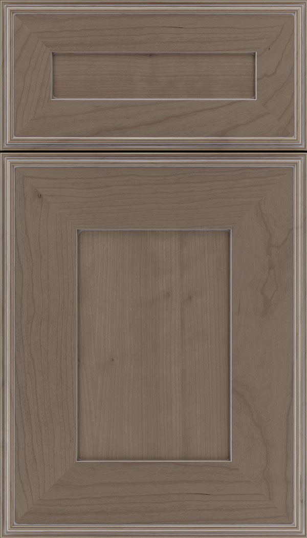 Elan 5pc Cherry flat panel cabinet door in Winter with Pewter glaze