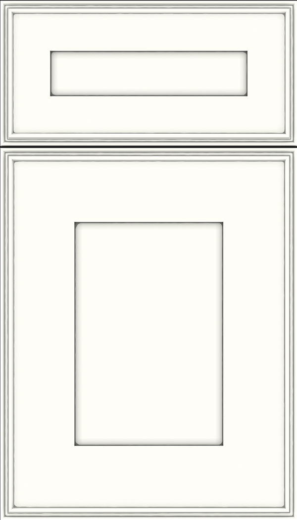 Elan 5pc Maple flat panel cabinet door in Alabaster with Pewter glaze