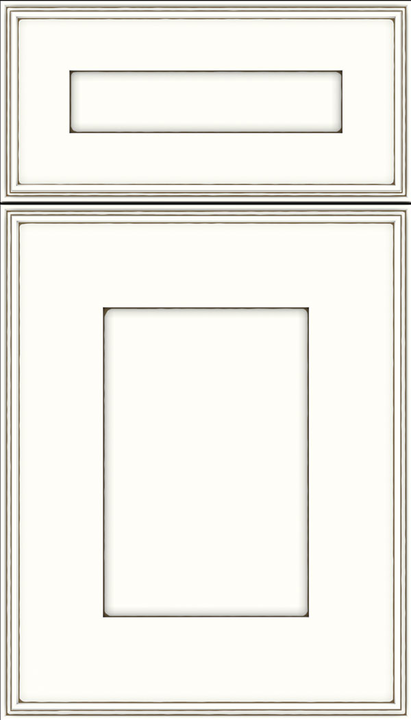 Elan 5pc Maple flat panel cabinet door in Alabaster with Smoke glaze