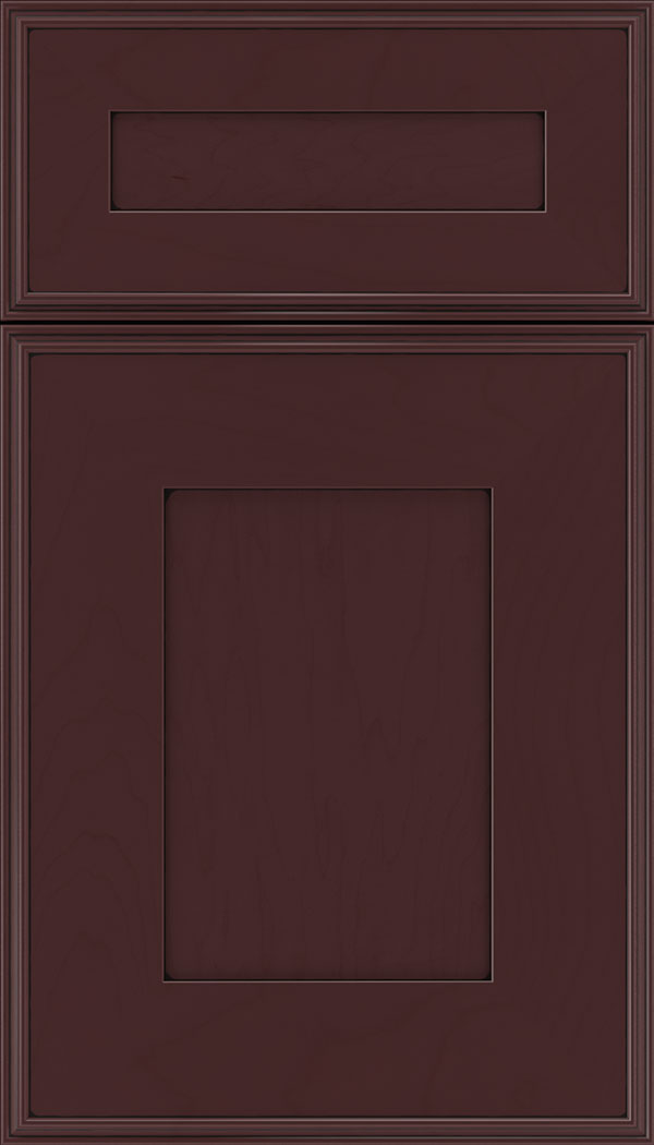 Elan 5pc Maple flat panel cabinet door in Bordeaux with Black glaze