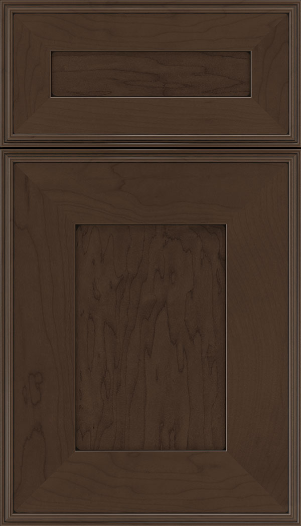 Elan 5pc Maple flat panel cabinet door in Cappuccino with Black glaze