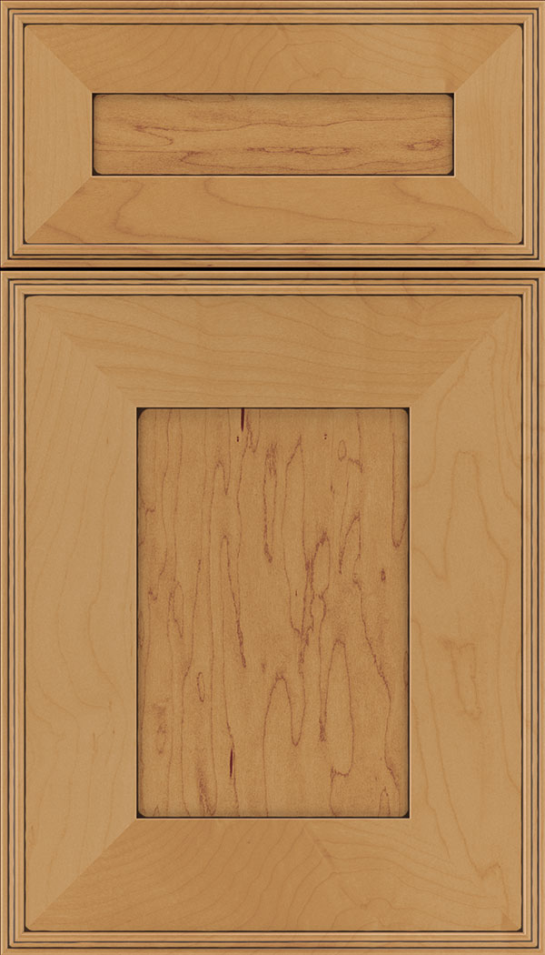 Elan 5pc Maple flat panel cabinet door in Ginger with Black glaze